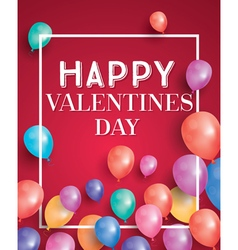 Happy valentines day card with flying balloons vector image vector image