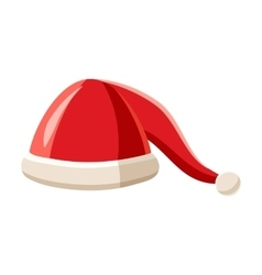 Hat with pompom of santa claus icon cartoon style vector