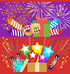 Horizontal flat pyrotechnics festival isolated vector