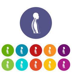 Human spine icons set flat vector