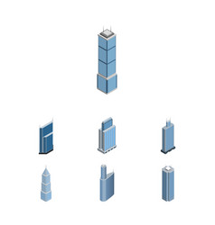Isometric building set of skyscraper business vector