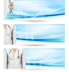 Medical banners with a doctors lab white coat and vector