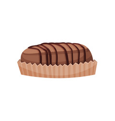 muffin with hocolate sauce cartoon vector image