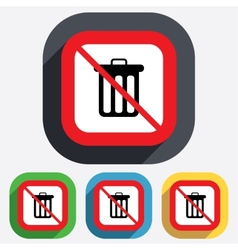 No Recycle bin sign icon Bin symbol vector image vector image