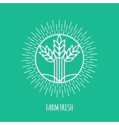 Outline farm fresh monogram or logo Abstract vector image