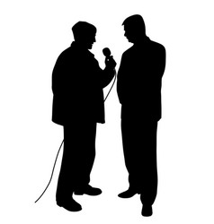 Reporter asking a question to a businessman vector