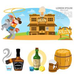 saloon set of wild west cowboy alcohol vector image