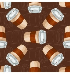 Seamless pattern coffee to go on dark background vector image vector image