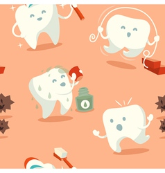 Seamless pattern with cute tooth vector image