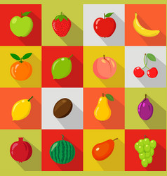 set of flat icons fresh natural fruits vector image vector image
