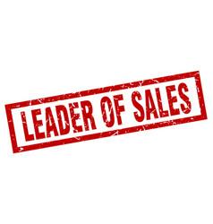 Square grunge red leader of sales stamp vector