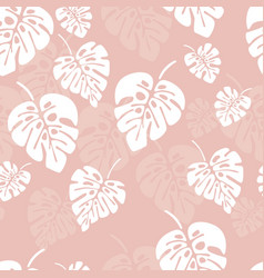 Summer seamless pattern with white monstera palm vector