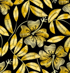 Tropical gold embroidery hibiscus plant in a vector