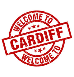 Welcome to cardiff red stamp vector