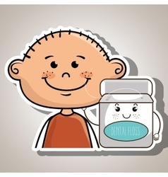 Smiling cartoon boy holding container over green vector
