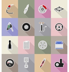 Car equipment flat icons 18 vector