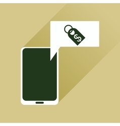 Flat web icon with long shadow mobile money vector