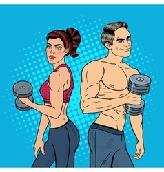 Pop art athletic man and woman exercising vector