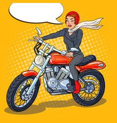 Pop art biker woman in helmet riding a motorcycle vector