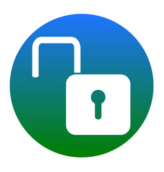 unlock sign white icon in vector image
