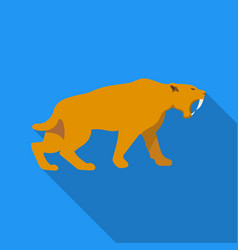 Saber-toothed tiger icon in flate style isolated vector