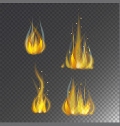 Fire flame hot burn icon warm danger and vector