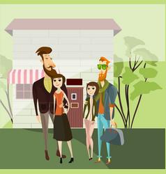 Hipster couples walking cartoon people vector