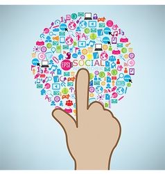 Hand clicking social icon concept eps10 vector
