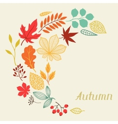 Background of autumn leaves in shape for greeting vector