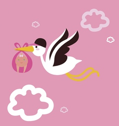 Stork with baby girl vector