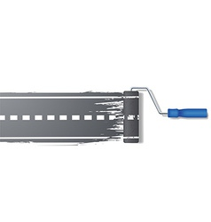 paint roller draws the road vector image