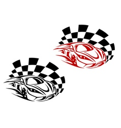 Racing cars and symbols for sports or tattoo desig vector