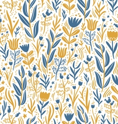 Gold and dark blue floral seamless pattern vector