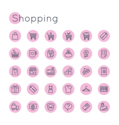 Round shopping icons vector