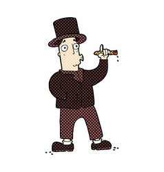 Comic cartoon smoking gentleman vector