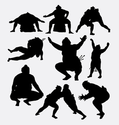 Sumo japanese sport male silhouette vector