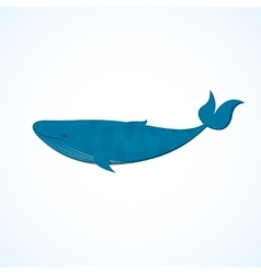 Big blue whale vector image