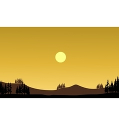 Silhouette of hills at afternoon vector