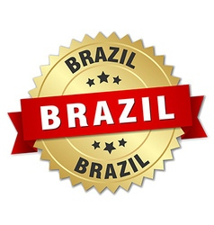 Brazil round golden badge with red ribbon vector