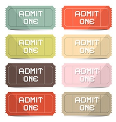 Admit One Tickets Retro Set vector image vector image