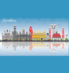 amritsar skyline with gray buildings blue sky and vector image