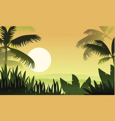 At sunset jungle scenery silhouettes vector