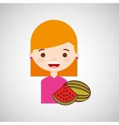 Cute girl cartoon watermelon health graphic vector
