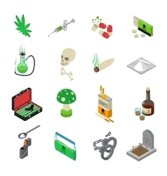 Drugs icons set vector