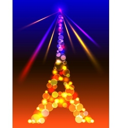 Eiffel Tower in shiny blue and yellow lights and vector image vector image