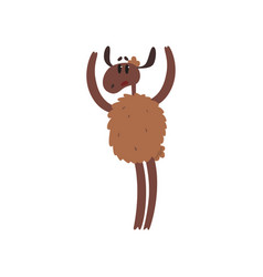 Funny brown sheep character standing on two legs vector