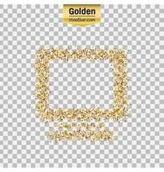 Gold glitter icon of monitor isolated on vector