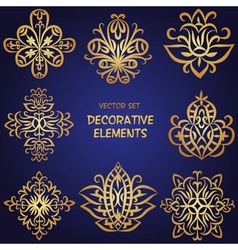 Golden decorative ethnic elements set vector image vector image