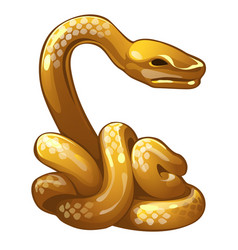 golden figure of snake chinese horoscope symbol vector image vector image