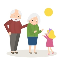 Happy Grandparents with little granddaughter vector image vector image